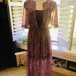 Gorgeous Maxi dress with see through bottom, sz M